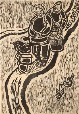 刘小伍作品《田埂上》60x41cm 1983